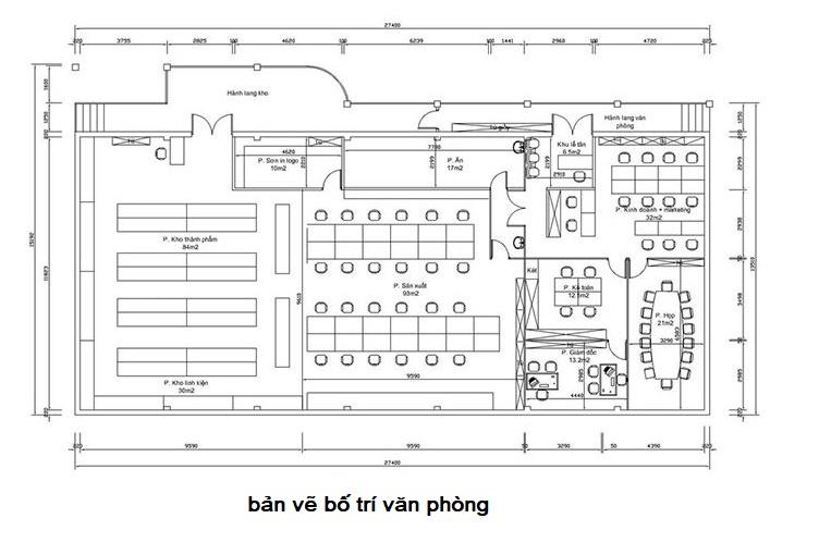 Bản vẽ bố trí mặt bằng văn phòng 2D tại Hải Phòng