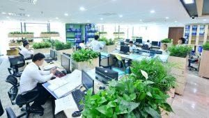 mẫu thiết kế văn phòng xanh